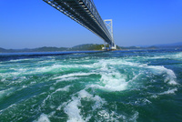 鳴門の渦潮と大鳴門橋