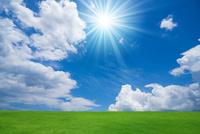 緑の草原と青空に太陽