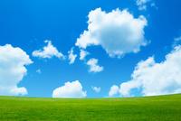 緑の草原と青空に雲