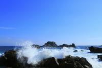 足摺岬の岩と波