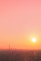スカイツリーと都心のビル群に夕日