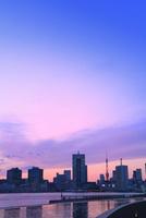 都心のビル群と東京タワーに夕焼け