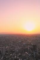 都庁より富士山と夕日