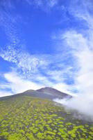 富士山と宝永山に這い登る雲海
