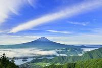 新道峠より富士山と河口湖にかかる雲海