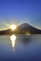 本栖湖と富士山に朝日