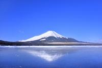 氷結の山中湖と逆さ富士 11076029026| 写真素材・ストックフォト・画像・イラスト素材|アマナイメージズ