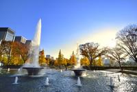 噴水と紅葉の木々に丸の内ビル群 11076029676| 写真素材・ストックフォト・画像・イラスト素材|アマナイメージズ