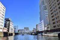 日本橋川と豊海橋に川沿いの街並み