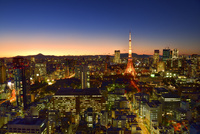 貿易センタービルより東京タワーに富士山とビル群夜景