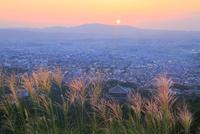 秋の若草山から望む奈良市街と夕日 11076030803| 写真素材・ストックフォト・画像・イラスト素材|アマナイメージズ