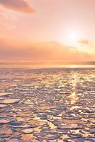 おーろら号より夕照のオホーツク海に蓮葉氷流氷帯と夕日 11076031216| 写真素材・ストックフォト・画像・イラスト素材|アマナイメージズ