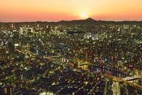 東京スカイツリーより夕照のビル群夜景と富士山に隅田川 11076031262| 写真素材・ストックフォト・画像・イラスト素材|アマナイメージズ