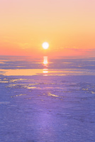 ウトロ見晴橋よりオホーツク海の流氷と夕日
