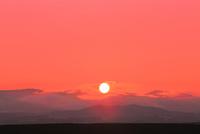 美瑛 夕日と山並み
