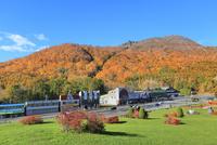 有珠山ロープウェイ駐車場と紅葉