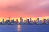 レインボーブリッジ遊歩道より東京タワーとビル群に夕焼け雲