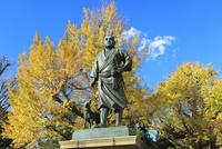 上野公園の西郷隆盛像とイチョウの紅葉