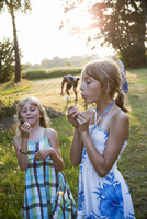 Girls blowing dandelion