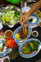 High angle view of various Thai food on table