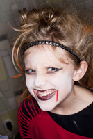 Portrait of girl with Halloween make up