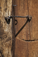 Wooden door with hasp