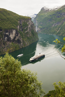 High angle view of cruise ship at Geirangerfjord