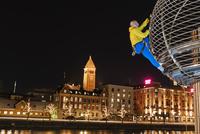 Man climbing building
