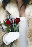 Bride holding red roses, close-up