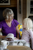 Grandmother reading granddaughter book