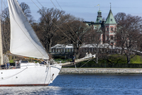 Yacht moored with building at Djurgarden in background
