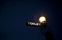 Toilet sign on lamp post at night