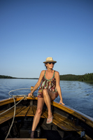 Mid adult woman on boat