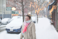 Young woman on street at winter