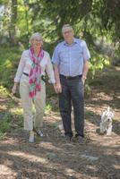 Senior couple walking in forest 11077014184| 写真素材・ストックフォト・画像・イラスト素材|アマナイメージズ
