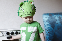 Boy in dino hat