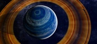 A ringed blue gas giant with shepherd moon in the rings.