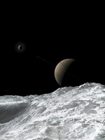 Saturn and Enceladus as seen from the moon Tethys.