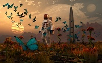 A astronaut is greeted by a swarm of butterflies on an alien