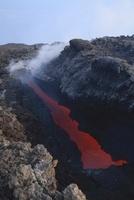 Mount Etna open tube lava flow, Sicily, Italy.