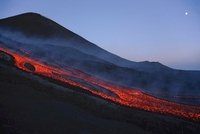 Mount Etna lava flow in evening dawn, Sicily, Italy.