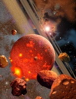 The primordial Earth being formed by asteroid-like bodies.