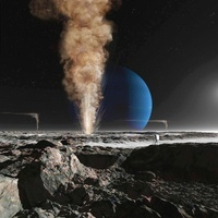 An astronaut observes the eruption of one of Triton's giant