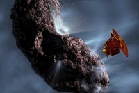 Artist's concept of Deep Impact's Encounter with Comet Tempe