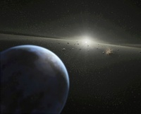 A massive asteroid belt in orbit around a star the same age