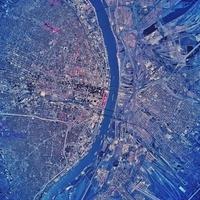 Satellite view of St. Louis, Missouri.