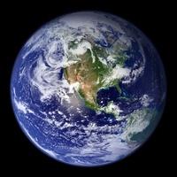 Earth showing the western hemisphere.