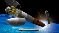Artist rendition of a heavy-lift rocket.