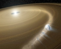 A comet being torn to shreds around a dead star.