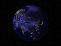 Full Earth at night showing city lights centered on Asia.